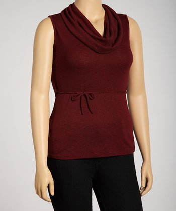 Burgundy Cowl Neck Top - Plus