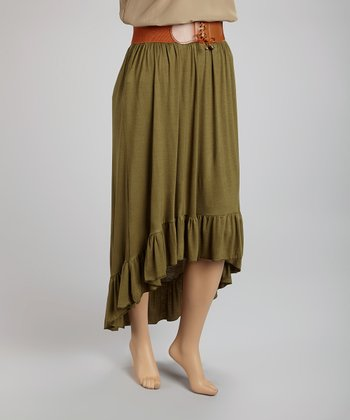 Olive Belted Hi-Low Skirt - Plus