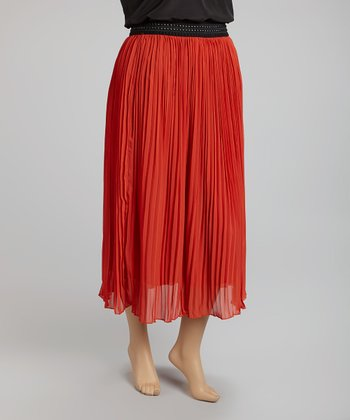 Orange Accordion Pleat Skirt - Plus