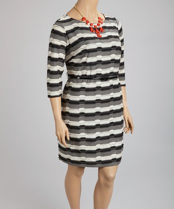 Ivory & Black Abstract Stripe Belted Dress - Plus