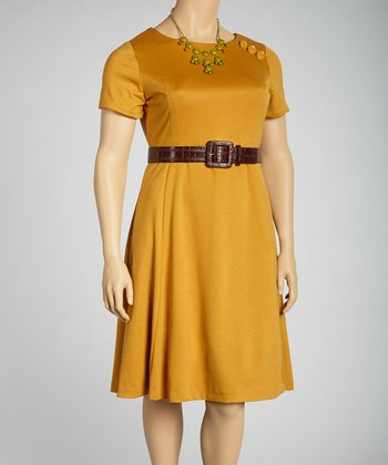 Amber Belted Short-Sleeve A-Line Dress - Plus