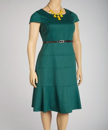Forest Belted Cap-Sleeve Dress - Plus
