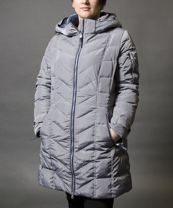 Gray Hooded Down Coat
