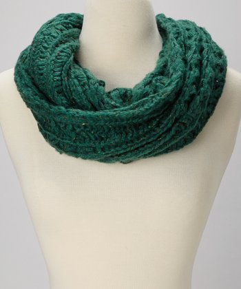 Green Open Knit Infinity Scarf