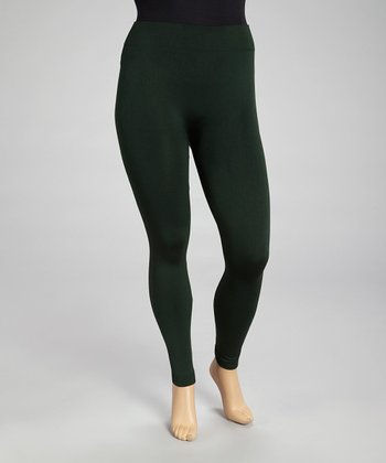 Dark Green Seamless Fleece Leggings Set - Plus