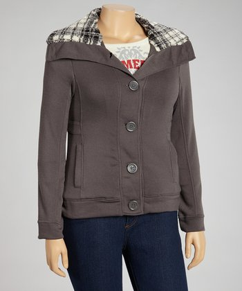 Gray Plaid Hooded Jacket