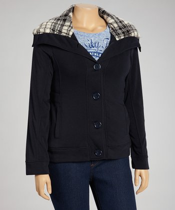 Black Plaid Hooded Jacket