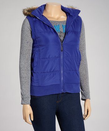 Royal Blue Hooded Puffer Vest