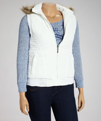 White Hooded Puffer Vest