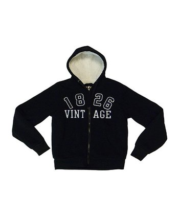 Black '1826 Vintage' Zip-Up Hoodie