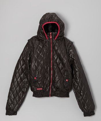 Black & Pink Quilted Hooded Jacket - Girls