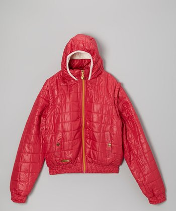 Pink Quilted Hooded Jacket - Girls