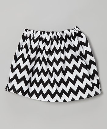 Black & White Zigzag Skirt - Toddler & Girls