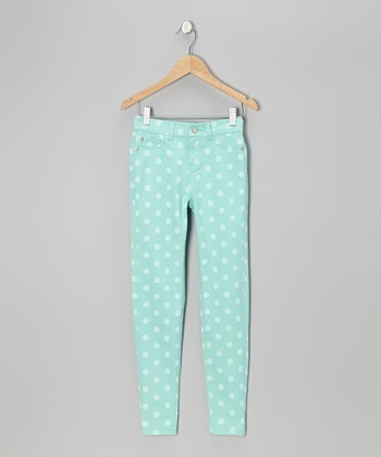 Mint Green Polka Dot Skinny Jeans - Girls