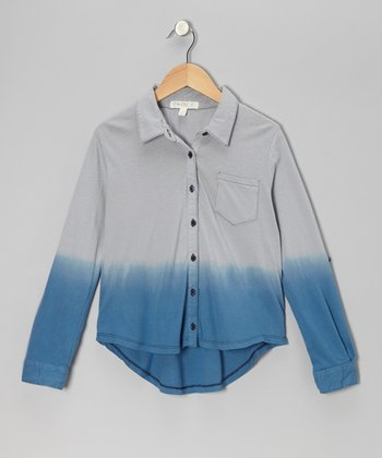 Blue Hi-Low Button-Up - Girls