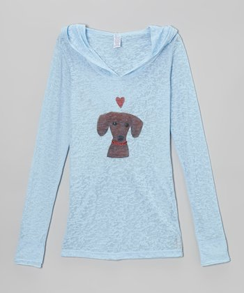 Baby Blue & Red Doggie Heart Tissue Hooded Tee