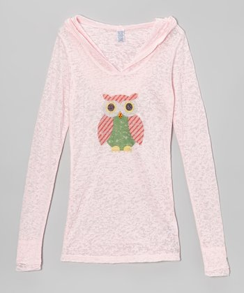 Pink & Red Stripe Owl Tissue Hooded Long-Sleeve Tee
