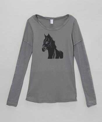 Gray Horse Tissue Layered Tee