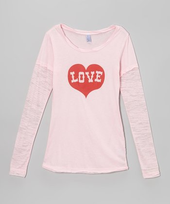 Pink 'Love' Heart Tissue Layered Tee