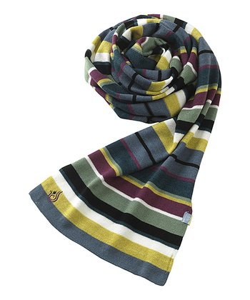 Blue & Yellow Stripe Wool-Blend Scarf