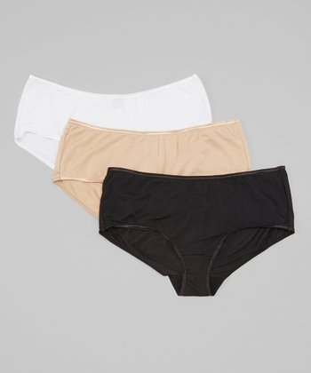Black, Fawn & White Boyleg Boyshort Set - Women