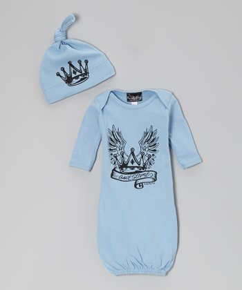 Blue 'Awesome' Royal Gown & Single-Knot Beanie