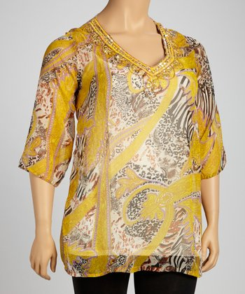 Gold Jungle Beaded Sheer Tunic - Plus