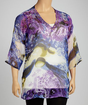 Purple Beaded Sheer Tunic - Plus