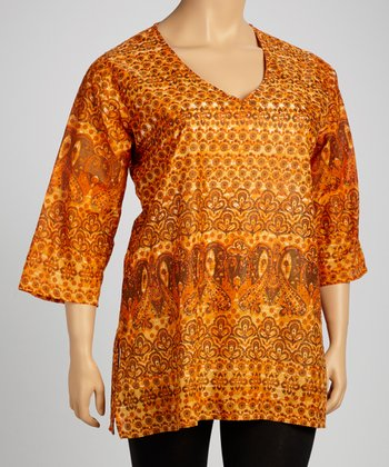 Orange Paisley Tunic - Plus