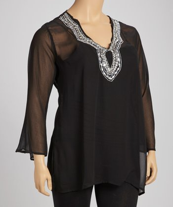 Black Beaded Sheer Tunic - Plus