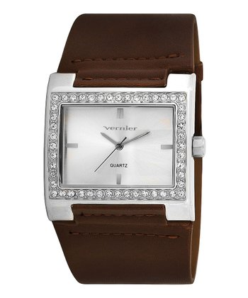 Silver & Brown Crystal Leather Watch