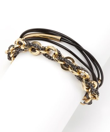 Gold & Black Leather Chain-Link Double Wrap Bracelet