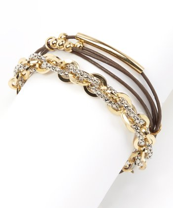 Gold & Brown Leather Chain-Link Double Wrap Bracelet