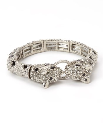 Clear Austrian Crystal & Silver Jaguar Stretch Bracelet