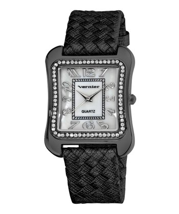 Gunmetal Braided Leather Mother-of-Pearl Watch
