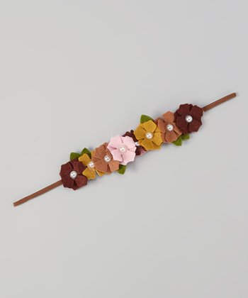 Brown & Pink Pearl Flower Headband