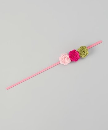 Pink & Green Flower headband