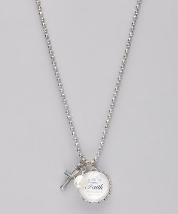 Silver 'Walk by Faith' Story Pendant Necklace