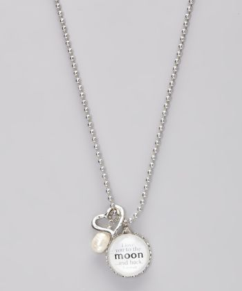 Silver 'I Love You to the Moon' Story Pendant Necklace