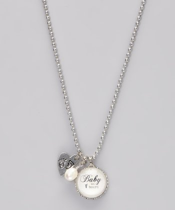 Silver 'Baby on Board' Story Pendant Necklace