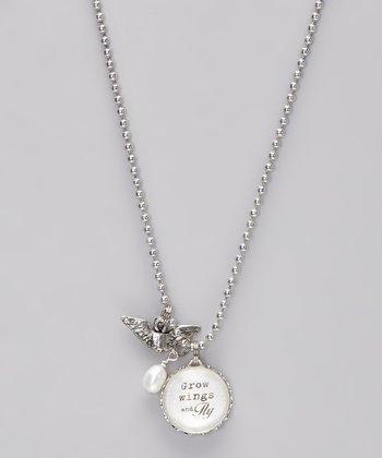 Silver 'Grow Wings and Fly' Story Pendant Necklace