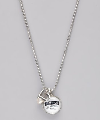 Silver 'A Bushel and a Peck' Story Pendant Necklace