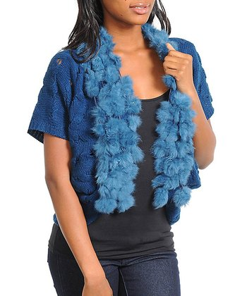 Blue Faux Fur Wool-Blend Open Cardigan - Women