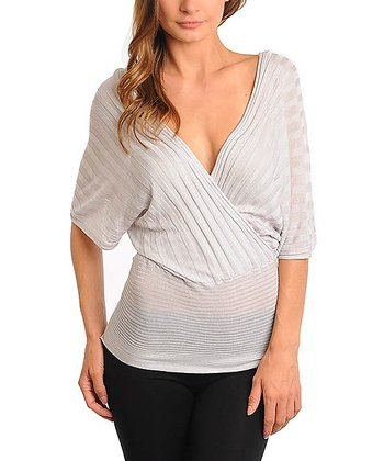 Gray Surplice Cape-Sleeve Top