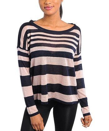 Dusty Pink & Navy Stripe Sweater