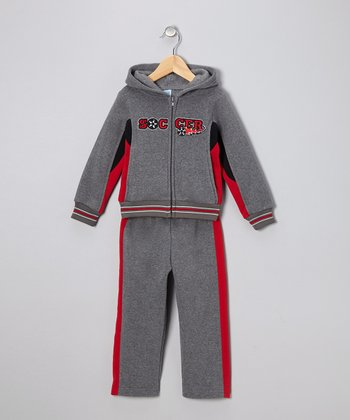 Gray & Red 'Soccer' Zip-Up Hoodie & Pants - Toddler & Boys