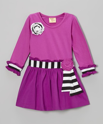 Fuchsia & Magenta Dahlia Sash Dress - Toddler & Girls