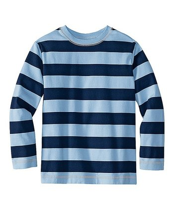 Navy & Rain Big Stripe Organic Beefy Tee - Infant, Toddler & Boys