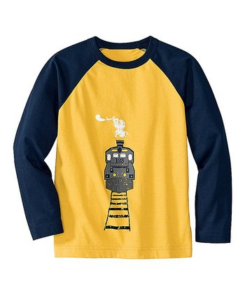 Yolk Yellow & Navy Transport Raglan Tee - Infant, Toddler & Boys