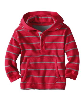Apple Red Stripe Thermal Hoodie - Infant, Toddler & Boys